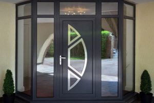 Aluminium double glazed door in black