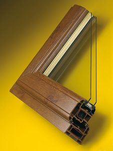 Brown double glazed Windows cutaway
